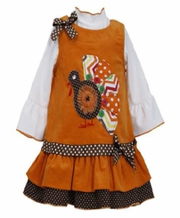Orange Chevron Turkey Corduroy Jumper Dress