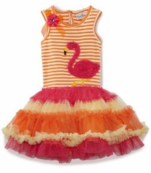 Orange/ Fuchsia Flamingo Tutu Dress  3 months to Girls 16