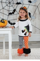 Orange Witch Girl's Halloween Outfit: Mud Pie Witch Baby Girl's Legging Set