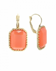 Peach,Gold Rectangle Drop Earrings with Lever Back
