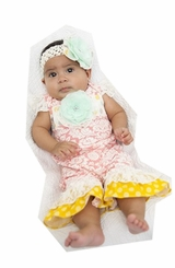 Peaches and Cream Baby Girls Pink With Yellow and Lace Ruffle Onesie