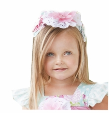 Peaches and Cream  Little Girls Teal,Pink, White Lace Headband