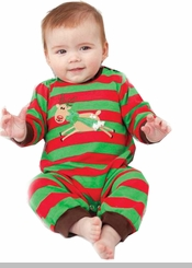 Peaches n Cream Baby-Boys Striped Reindeer Onesie