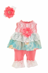 Peaches n Cream Baby Girls Coral Lace Romper