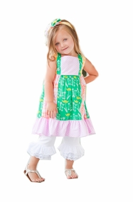 Peaches n Cream Baby Girls Dahlia Patchwork Dress with Capri