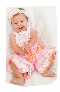 Peaches n Cream Baby Girls Dahlia Ruffled Coverall with Headband SET - SOLD OUT