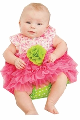 Peaches n Cream Baby Girls Fuchsia Lime Dress with Panty