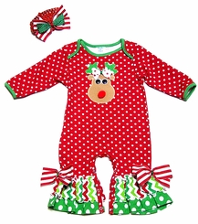 Peaches 'n Cream Baby Girls Red Dots Christmas Reindeer Face Romper with Headband - OUT OF STOCK