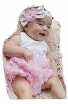 Peaches n Cream Baby Girls Rosey Posey Bubble with Headband Set