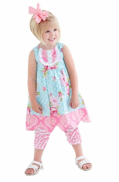 Peaches n Cream Little Girls Rosey Posey Dress with Capri