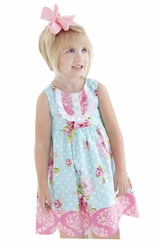 Peaches N Cream Little Girls Teal/Pink Vintage Floral Dress