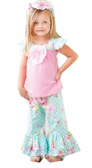 Peaches n Cream Little Girls Rosey Posey Pant Set