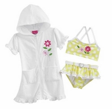 Penny M Little Girls Hooded Bathing Suit Cover Up & BIKINI Swimsuit