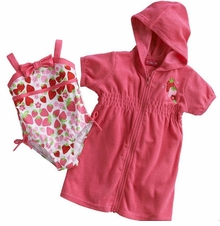Penny M Little Girls Strawberry One Piece Swimsuit & Hooded Cover Up Set