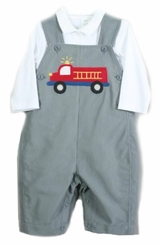 Petit Ami Baby Boys Gray Fire Truck Overall Set