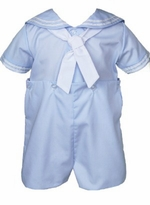 Petit Ami Baby Boys Light Blue Sailor Bobby Suit