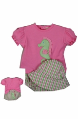 Petit Ami Baby Girl's Seahorse 3pc Seersucker Bloomer Set  SALE!