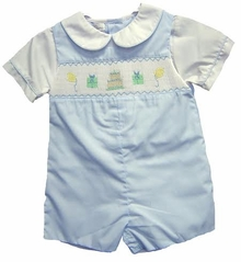 Petit Ami Infant Boys Smocked Birthday Shortalls Blue - sold out