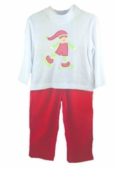Petit Ami Toddler Boys Christmas Outfit Elf Applique