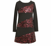 Pink and Black Sequin Banded Dress  FINAL SALE SIZE 4-16