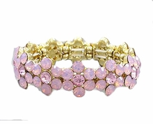 Pink and Gold Plated Crystal Flower Stretch Bracelet