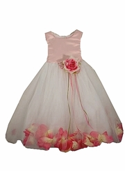 Pink and White Ballerina style Dress with Rose Trim
