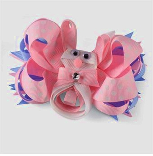 Pink Bunny Bow Clip -  NEW 3 IN 1 Design,  Wear as Clip or Bow or Both!