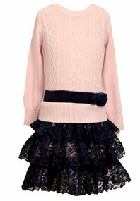 Pink Cable Lace Black Dress Special Occasion Dress