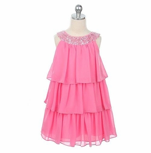 PINK Chiffon Tiered Girls Dress with Sequins - SOLD OUT
