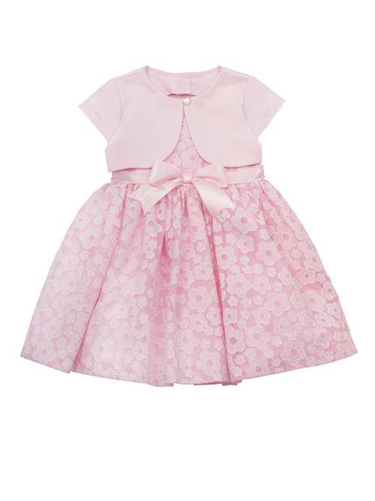 Baby special occasion dress pink daisy burnout dress with bolero