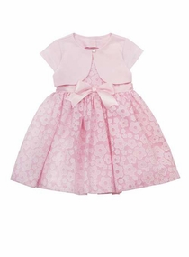 Baby Special Occasion Dress : Pink Daisy Burnout Dress with Bolero SALE