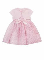 Baby Special Occasion Dress : Pink Daisy Burnout Dress with Bolero