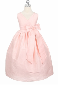 Pink Dupioni V-Neck Dress - Girls Party Dress