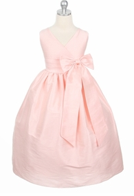 Pink Dupioni V-Neck Dress - Girls Party Dress Size 2 - 12