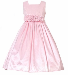 Pink Flower Girl Dress  - Rosette Waist
