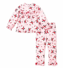 Pink Girls Christmas Pajamas Santa Two Piece