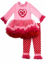 Pink Glitter Heart Applique Tutu Legging Set
