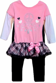 Pink Heart Tunic with Ruffle Hem and Leggings  sold out