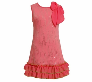 Pink Knit Sequin Flower Dress CLEARANCE