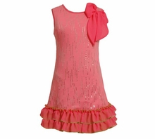 Girls 4- 6X Pink Knit Sequin Flower Dress  FINAL SALE
