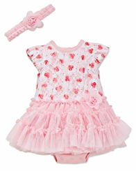 Pink Lace Tutu Dress with Headband