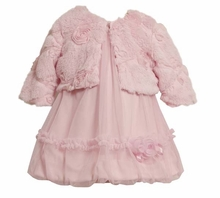 Pink Mesh Infant Dress with Fur Jacket - sold out