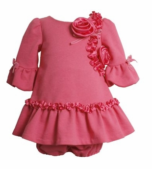 Pink Rose and Ruffle Dress  12 month to 4T  SIZE