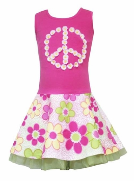 Pink Tye-Dye Peace Sign Dress with Tulle - FINAL SALE