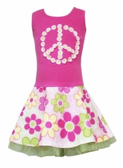Pink Peace Sign Dress with Tulle - 3T FINAL SALE
