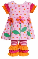 Polka Dot Orange Ruffle Pant Set - SOLD OUT