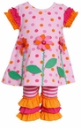 Polka Dot Orange Ruffle Pant Set