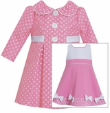 Baby Girls Coat Dress: Polka Dot Pink Coat Bow Dress Set