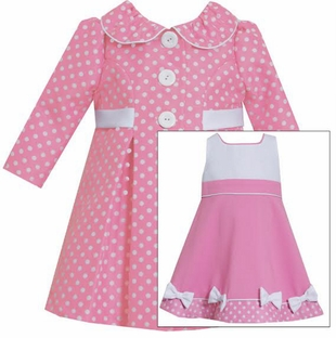 Baby Girls Coat Dress: Polka Dot Pink Coat Bow Dress Set - SOLD OUT