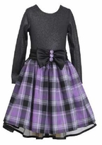 Purple Black Plaid Dress Holiday Dress